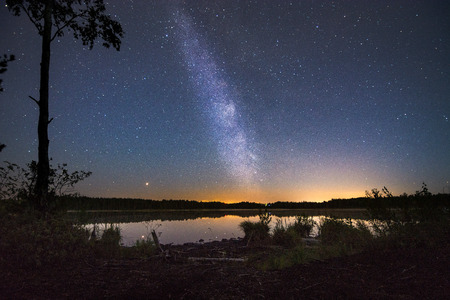 Glowing milky way over a still lake with sunset in the background. Tropical summer nights with million stars above and colorful sky.