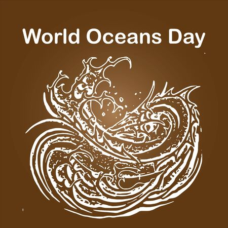 World Oceans Day takes place annually on the 8th of June. The concept was originally proposed in 1992 by Canada's International Centre for Ocean Development Ilustração Vetorial