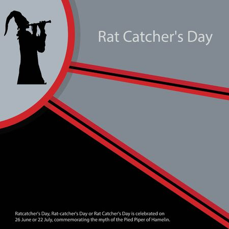 Ratcatcher's Day, Rat-catcher's Day or Rat Catcher's Day is celebrated on 26 June or 22 July, commemorating the myth of the Pied Piper of Hamelin. Foto de archivo - 148861876