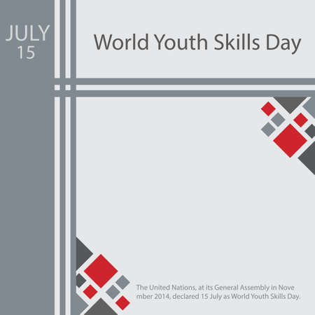 The United Nations, at its General Assembly in November 2014, declared 15 July as World Youth Skills Day. Vettoriali