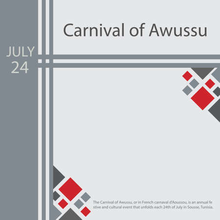 The Carnival of Awussu, or in French carnaval d'Aoussou, is an annual festive and cultural event that unfolds each 24th of July in Sousse, Tunisia. Vettoriali