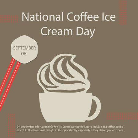 On September 6th National Coffee Ice Cream Day permits us to indulge in a caffeinated dessert. Coffee lovers will delight in the opportunity, especially if they also enjoy ice cream. Vettoriali