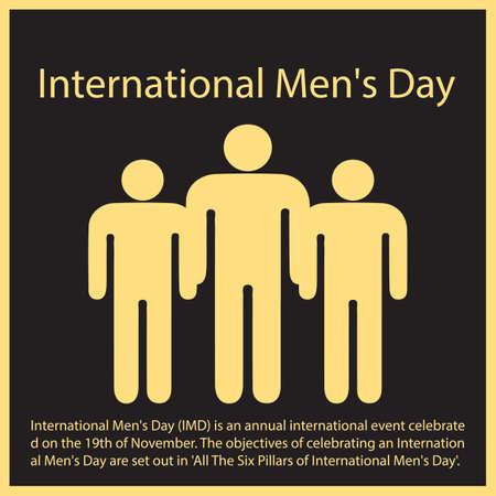 International Men's Day (IMD) is an annual international event celebrated on the 19th of November. Vektoros illusztráció