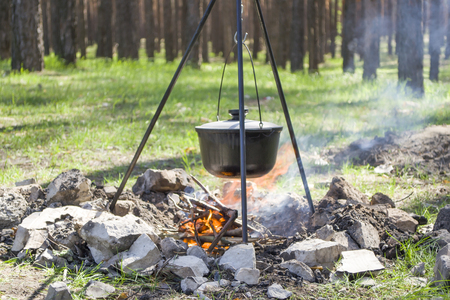 Pot over the fire in the forest. Cooking on a fire. Spring camping concept.