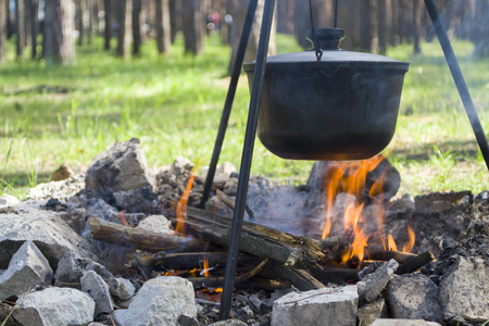 Pot over the fire in the forest. Cooking on a fire. Spring camping concept. Opening of the new tourist season. Vertical. Banco de Imagens