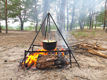 Pot over the fire by the river in a pine forest. Cooking on a fire. Summer camping concept. Banco de Imagens