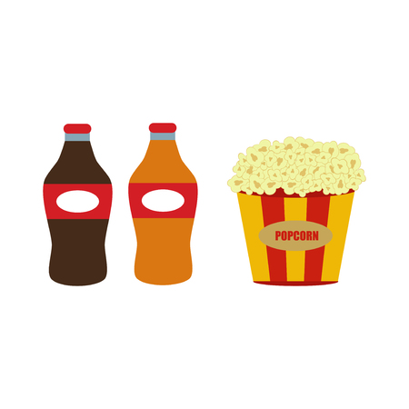 Popcorn in red and white cardboard box is shaking snack cinema box movie food vector illustration.