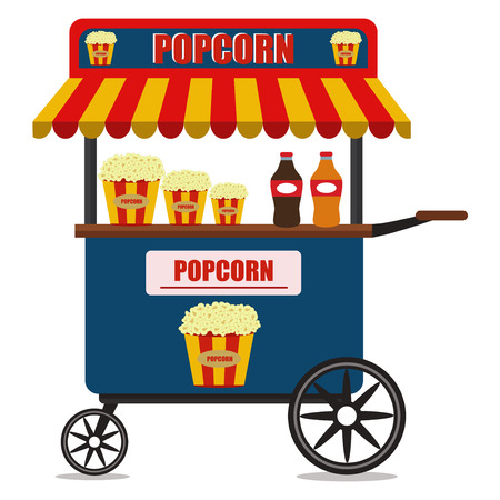Popcorn cart carnival store and fun festival retro car candy corn container seller cart vector illustration.