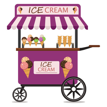 Ice cream cart sweet shop food kiosk summer trolley market vector illustration. Dessert stand store ice cream cart delicious frozen icecream pushcart.