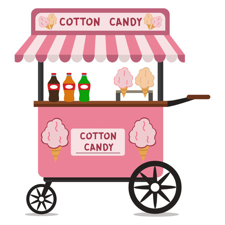candy floss: Vector flat illustration of Cotton Candy cart. Sugar stand food business dessert snack sweet stall kiosk cotton candy cart shop store market. Illustration