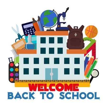 school class: Vector illustration school supplies banner.
