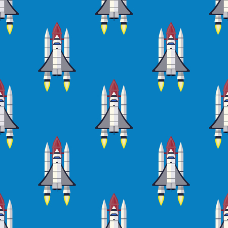 Rocket seamless pattern background vector and space technology ship rocket launch cartoon design vector illustration. Cartoon spacecraft rocket future shuttle fly futuristic galaxy vehicle. Illustration