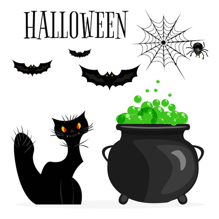 Halloween icons set. Cartoon illustration black of Halloween icons for web