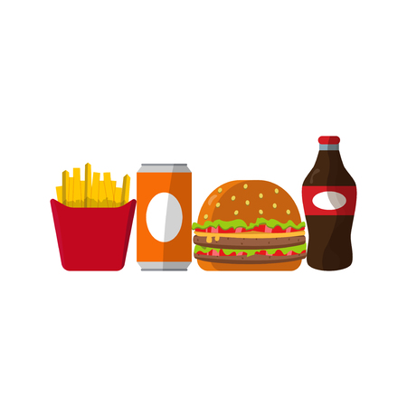 Set of colorful cartoon fast food icons isolated unhealthy lunch snack vector illustration. Illustration