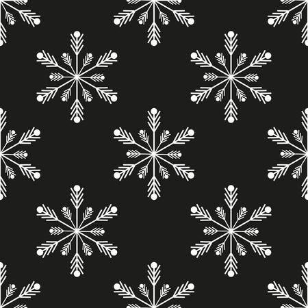 Snowflake winter design season december snow celebration ornament vector illustration. Geometric freeze snowfall decorative nature beautiful christmas holiday symbols seamless pattern background.