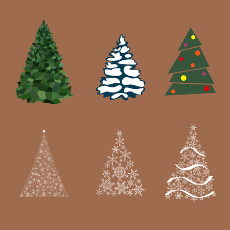 Kerstboom winter viering ontwerp vakantie nieuwe jaar sneeuwvlok ster xmas spar dennen vectorillustratie.