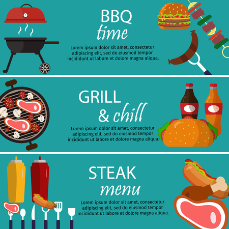 Barbecue grill banners food vector illustration.