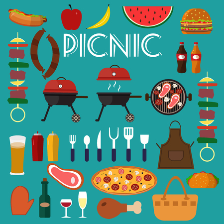 Barbecue grill set food vector illustration.