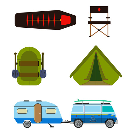Hiking set. Camping equipment vector summer collection. Binoculars, bowl, barbecue, boat, lantern, shoes, hat, tent campfire trailer Family camping set Hike outdoor elements 矢量图像
