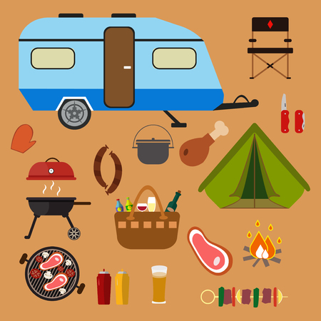 Hiking set. Camping equipment vector summer collection.