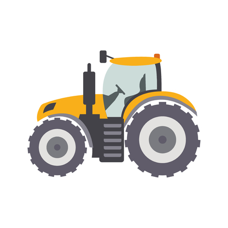 Tractor. Heavy agricultural machinery farm field work illustration.