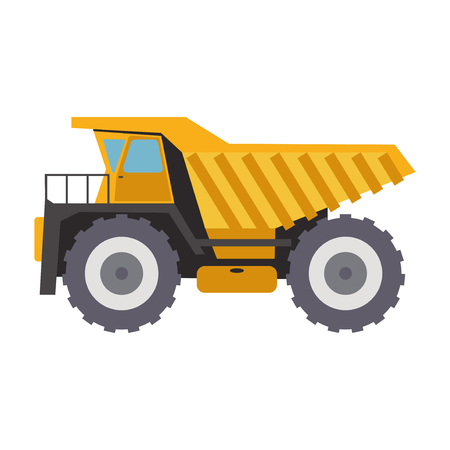 Tipper truck. Dump vehicle. Isolated truck vehicle tipper heavy construction. Vector illustration. Transportation industry machine equipment car dumper transport machinery lorry.