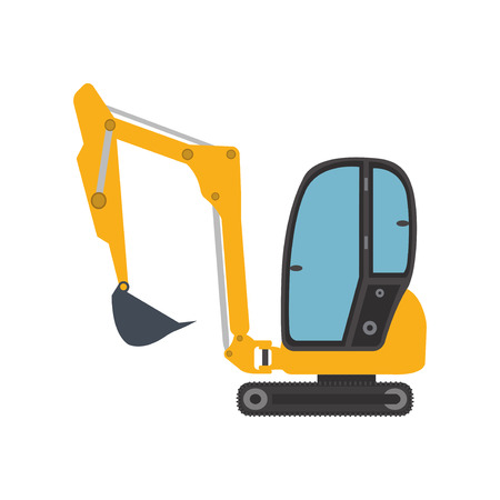 Excavator mini icon equipment machine.  イラスト・ベクター素材