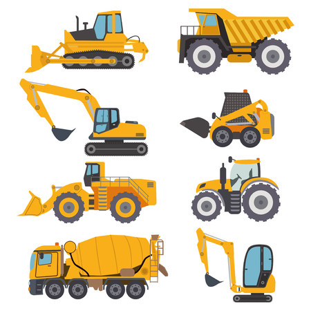 Construction machinery vehicle industry truck equipment heavy machine concrete mixer, loader and crawler crane vector illustration.