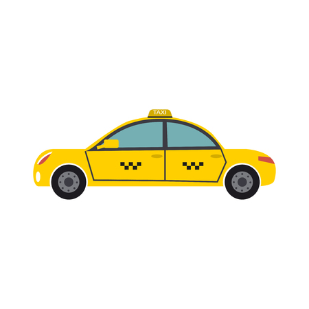Yellow taxi car driver cab transport vector illustration. City transportation travel automobile service. Taxicab passenger auto.