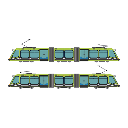Public city transport different municipal and private vehicles vector illustration. Traffic bus train tram taxi passenger automobile. Delivery auto transportation. 矢量图像