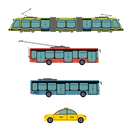 Public city transport different municipal and private vehicles vector illustration. Traffic bus train tram taxi passenger automobile. Delivery auto transportation.