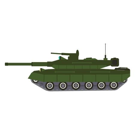 Equipamiento de vehículos militares. Reservas de tanques de batalla pesados y transporte especial. Equipo para la guerra. Vehículos blindados, piezas de artillería ilustración vectorial