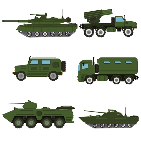Military vehicle equipment army war weapon machine. Heavy, reservations and special transport. Equipment for the war trucks, armored vehicle, artillery pieces vector illustration