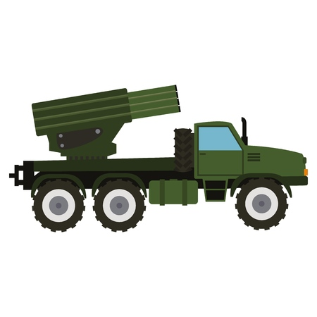 Military vehicle equipment. Heavy, reservations and special transport. Equipment for the war. The missile, tanks, trucks, armored vehicles, artillery pieces vector illustration