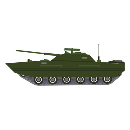 Military vehicle equipment. Heavy batle tank reservations and special transport. Equipment for the war. Armored vehicles, artillery pieces vector illustration
