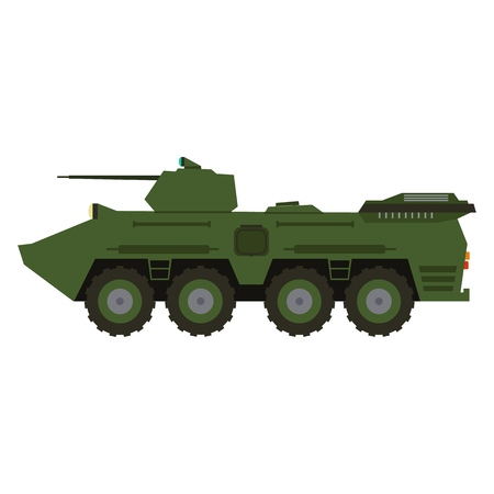 Military vehicle truck equipment. Heavy reservation and special transport. Equipment for the war. Armored vehicle artillery car vector illustration 矢量图像