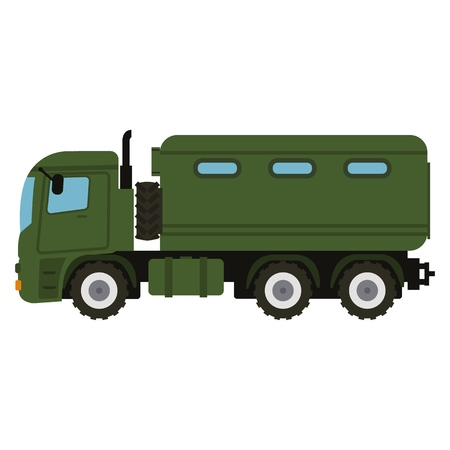 Military vehicle truck equipment. Heavy reservation and special transport. Equipment for the war. Armored vehicle artillery car vector illustration Illustration
