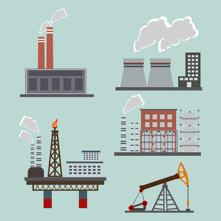 Highly polluting factory plant with smoking towers and pipes. Carbon dioxide emissions. Environment contamination. Flat style industrial polution vector illustration.