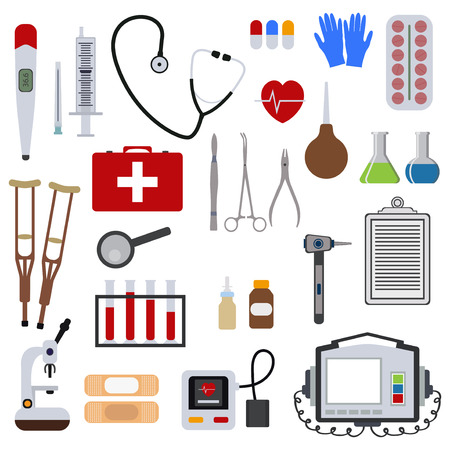 Medicine and health tools medical hospital human service operation healthy care first aid kit vector illustration. Professional laboratory work pharmacy emergency equipment.