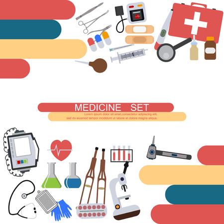 Medizinbanner Gesundheitswerkzeuge medizinisches Krankenhaus menschlicher Service Betrieb gesunde Pflege Erste-Hilfe-Set-Vektor-Illustration. Professionelle Laborarbeitsapotheke-Notfallausrüstung.