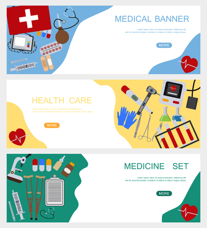 Medicine banner health tools medical hospital human service operation healthy care first aid kit vector illustration. Professional laboratory work pharmacy emergency equipment. 矢量图像