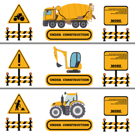 Construction Crew Vehicles machinery building truck industry equipment vector illustration. Build tractor architecture digger engineering, worker loader banner. 矢量图像