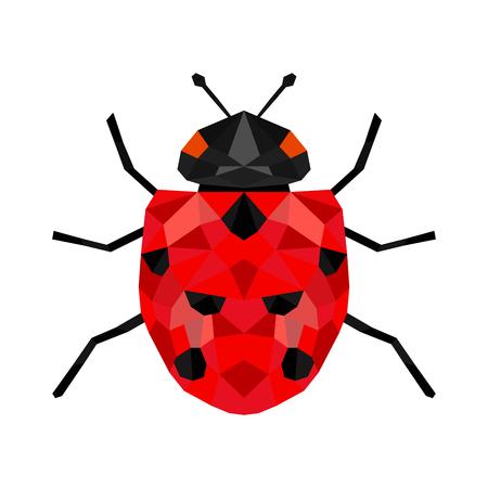 Biedronka lub biedronka wektor graficzny ilustracja, na białym tle. Ładny prosty projekt płaski czarny i czerwony dama chrząszcz.