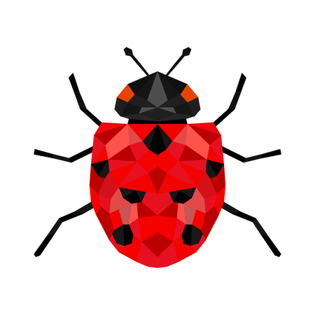 Ladybug or ladybird vector graphic illustration, isolated. Cute simple flat design black and red lady beetle. 矢量图像