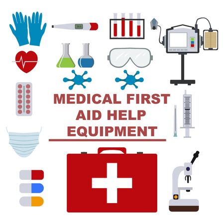Flat illustration first aid kit. Health care concept graphic.