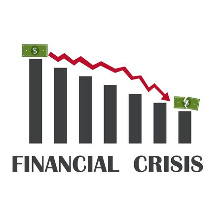 Money loss banner vector illustration, flat cartoon cash with down arrow stocks graph, concept of financial crisis, market fall, bankruptcy 矢量图像