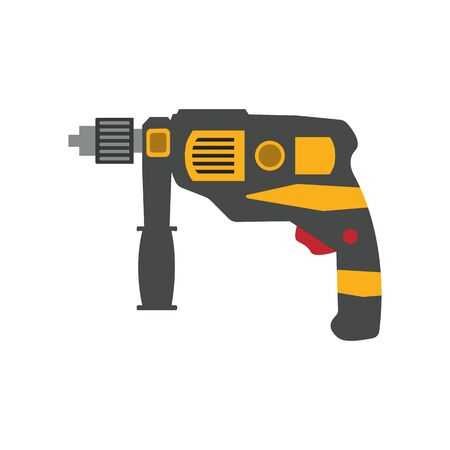 Cordless drill isolated on white background. Electric construction tool, drilling and repair house work vector illustration.