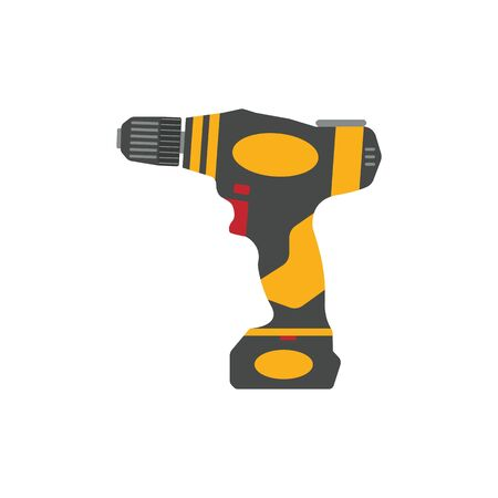 Cordless drill isolated on white background. Electric construction tool, drilling and repair house work. 矢量图像