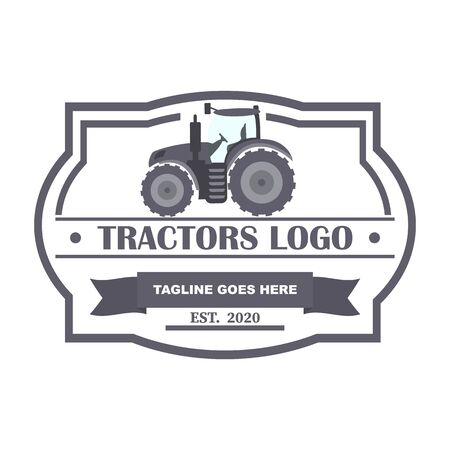 Tractor logo. Organic food fresh design. Nature eco field label.