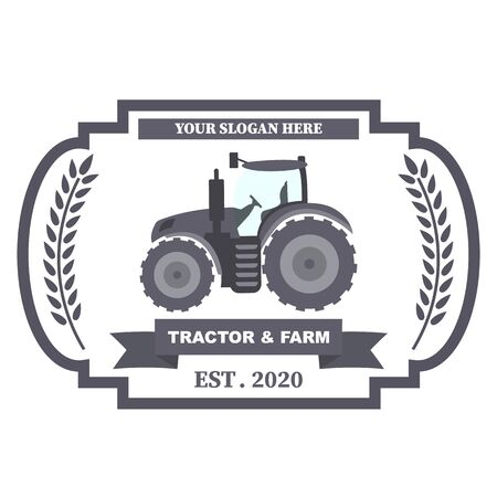 Tractor  . Organic food fresh design. Nature eco field label. Template with farm landscape. Label for natural farm products. Vector illustration.